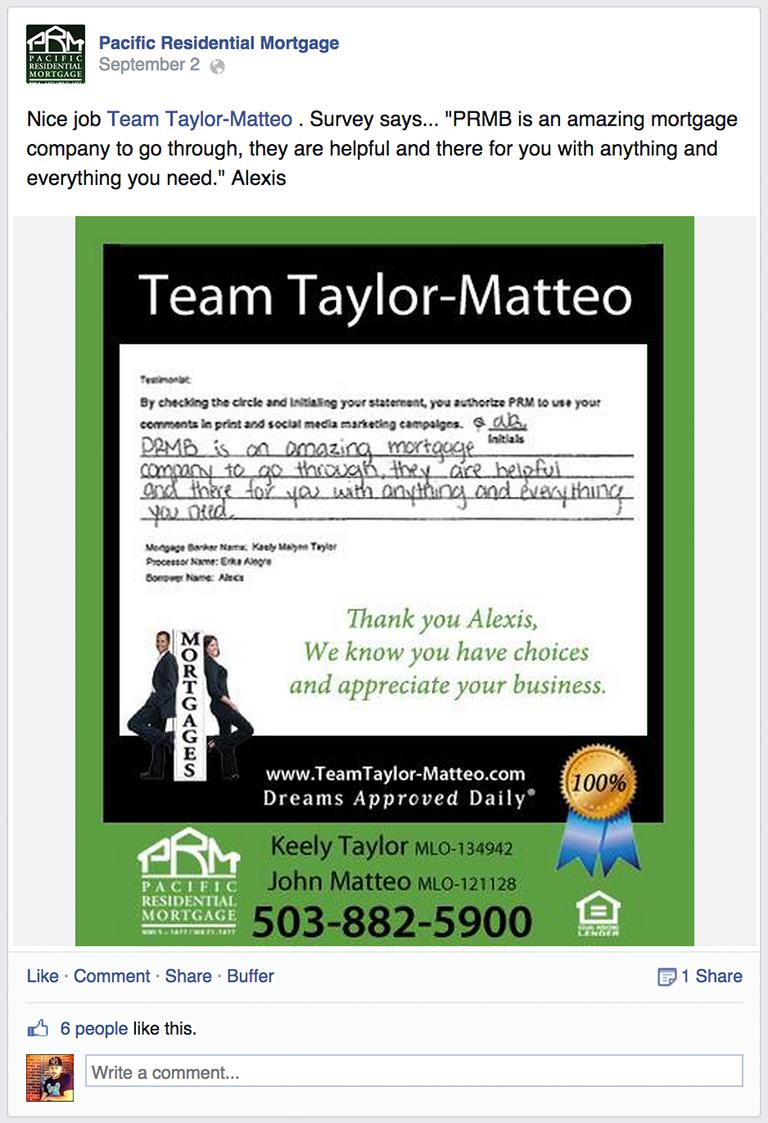 Client Testimonial Mortgage Social Media Post Idea