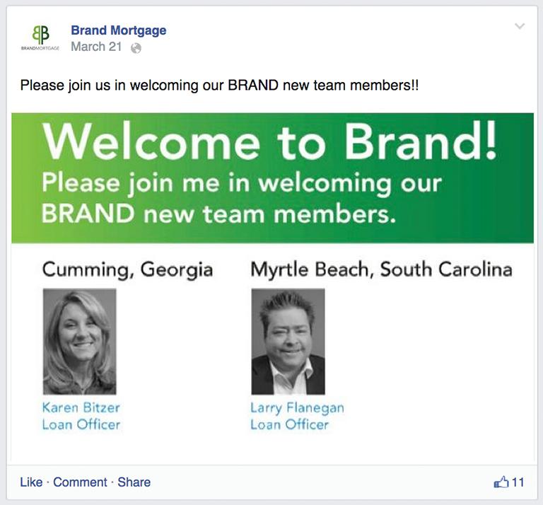 New Employee Mortgage Social Media Post Idea
