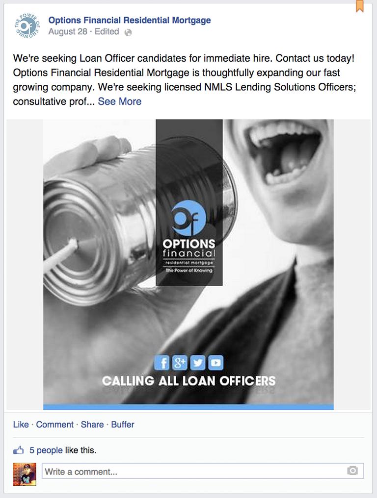 Job Posting Mortgage Social Media Post Idea