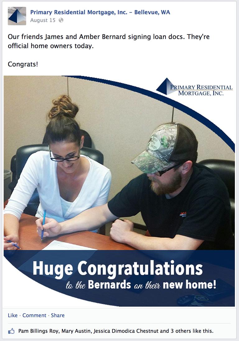 Client Closing Mortgage Social Media Post Idea