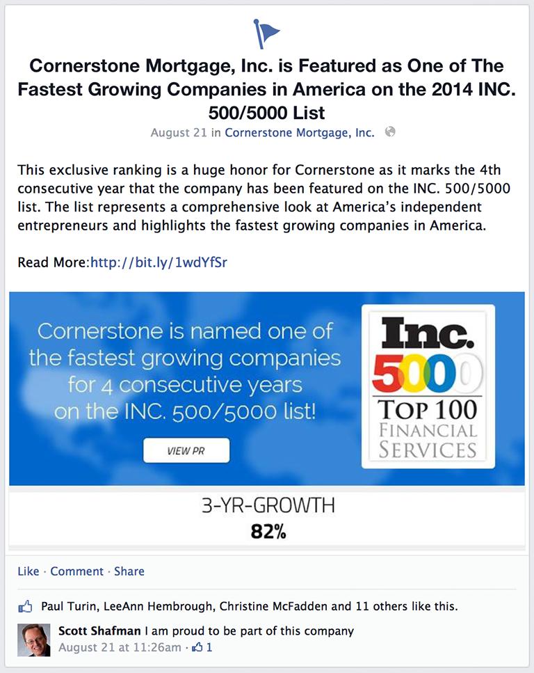 Company Milestones / Rankings Mortgage Social Media Post Idea