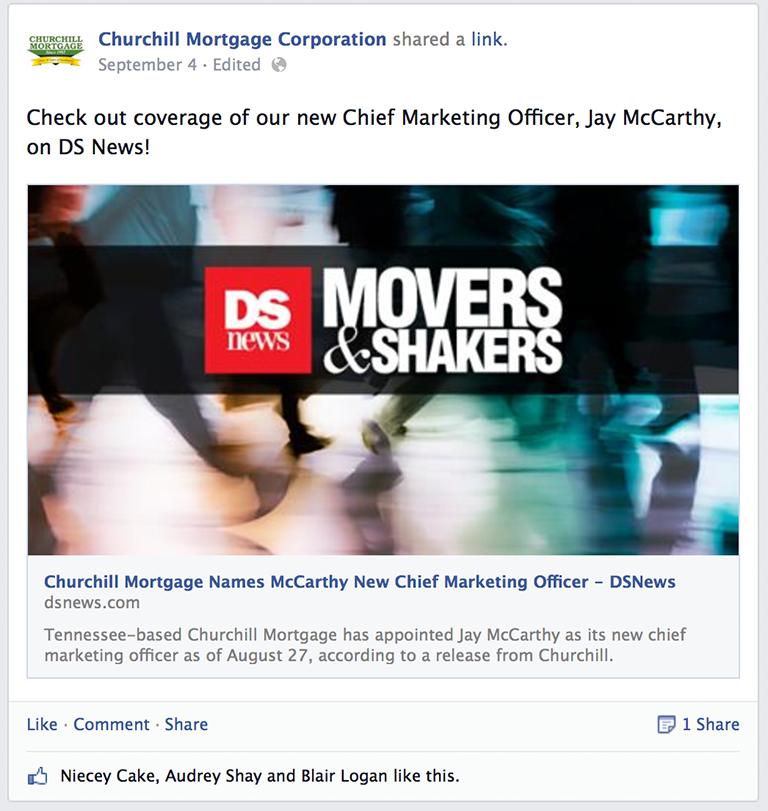 Company in the news Mortgage Social Media Post Idea